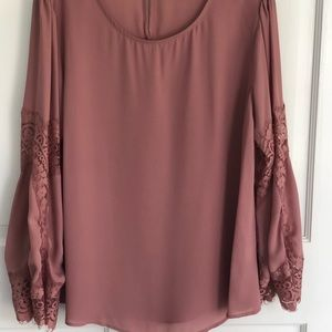 Tops - Bell sleeve w lace Pink Blouse.
